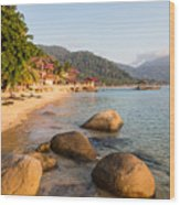 Long Chairs On A Beach In Pulau Tioman, Malaysia Wood Print