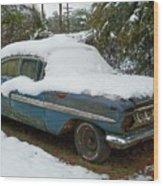 Long Cool Blue Impala Wood Print
