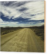 Long Dusty Road In Jal New Mexico  Wood Print