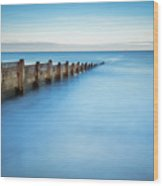 Long Exposure Of Blyth Beach Groyne Wood Print