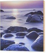 Long Exposure Sea And Rocks In Estonia Baltic Sea Wood Print