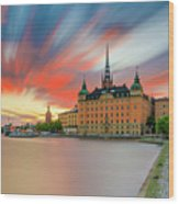 Long Exposure Stockholm Sunset Wood Print
