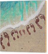 Long Family Beach Feet Wood Print