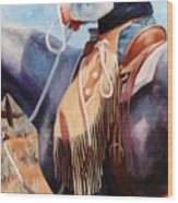 Long Fringed Chink Chaps Western Art Cowboy Painting Wood Print
