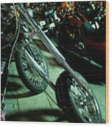 Long Front Fork And Wheel Of Chopper Bike At Night Wood Print