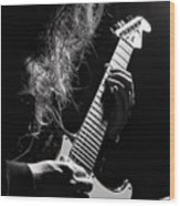 Long Hair Man Playing Guitar Wood Print