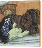 Long-haired Dachshund Watercolor Wood Print