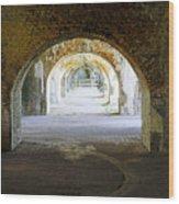 Long Hall At Fort Pickens Wood Print