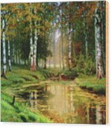 Long Indian Summer In The Woods Wood Print