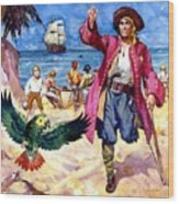 Long John Silver And His Parrot Wood Print