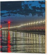 Long Lights At Grand Haven Pier Wood Print