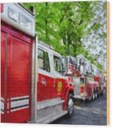 Long Line Of Fire Trucks Wood Print