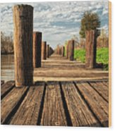 Long Long Way To The Bayou - Louisiana Dock Wood Print