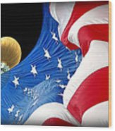 Long May She Wave The American Flag Wood Print