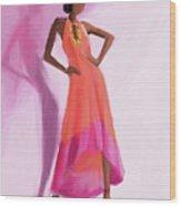 Long Orange And Pink Dress Fashion Illustration Art Print Wood Print