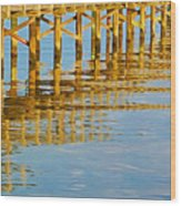 Long Wooden Pier Reflections Wood Print