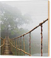 Long Rope Bridge Wood Print