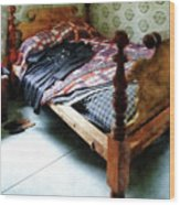 Long Sleeved Dress On Bed Wood Print