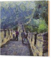 Long Slope Of The Great Wall Of China Wood Print