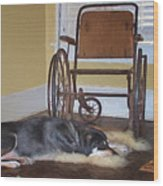 Long Wait - Dog - Wheelchair Wood Print