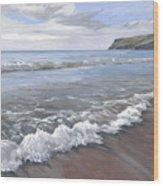 Long Waves At Trebarwith Wood Print