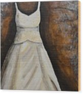 Long White Gown  Wood Print
