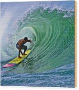 Longboarder In The Tube Wood Print by Paul Topp