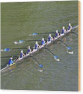 Longboat - Rowing On The Schuylkill River Wood Print
