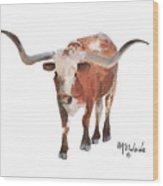 Longhorn 17 Big Daddy Watercolor Painting By Kmcelwaine Wood Print