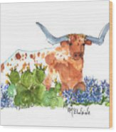 Longhorn In The Cactus And Bluebonnets Lh014 Kathleen Mcelwaine Wood Print