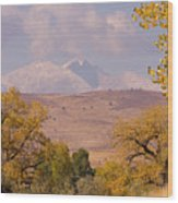 Longs Peak Diamond Autumn Shadow Wood Print