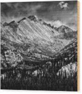 Longs Peak Rocky Mountain National Park Black And White Wood Print