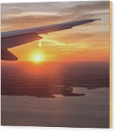Looking At Sunset From Airplane Window With Lake In The Backgrou Wood Print