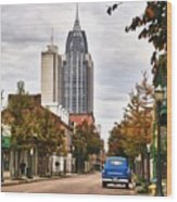 Looking Down Dauphin Street And The Blue Truck Wood Print