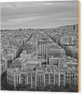 Looking Down On Barcelona From The Sagrada Familia Black And White Wood Print