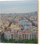 Looking Down On Barcelona From The Sagrada Familia Wood Print