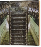 Looking Down The Stairs - Urban Exploration Wood Print