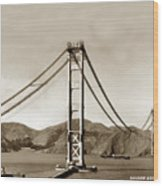 Looking North At The Golden Gate Bridge Under Construction With No Deck Yet 1936 Wood Print
