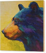 Looking On II - Black Bear Wood Print