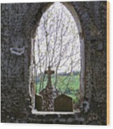 Looking Out Fuerty Church Roscommon Ireland Wood Print