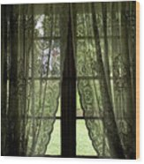 Looking Out The Window Of A Log Cabin Wood Print