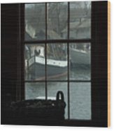 Looking Out Through A Window At Wooden Wood Print by Todd Gipstein