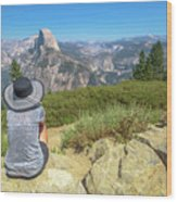 Looking Panorama At Glacier Point Wood Print
