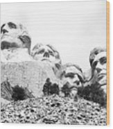 Looking Up At Mount Rushmore National Monument South Dakota Black And White Wood Print