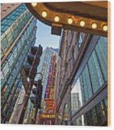Looking Up At The Boston Paramount Boston Ma Wood Print