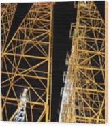 Looking Up At The Kilgore Lighted Derricks Wood Print