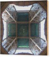 Looking Up Eiffel Tower Wood Print