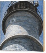 Looking Up Portland Head Light Wood Print