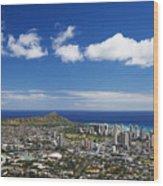 Lookout View Of Honolulu Wood Print