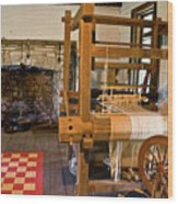 Loom And Fireplace In Settlers Cabin Wood Print